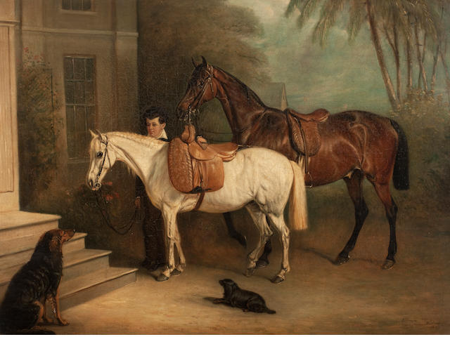 John Fernley (British, 1782-1860) Horses and groom