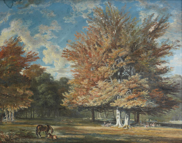 Attributed to George Barrett  R.A. (Dublin circa 1728-1784 Paddington) Horses and deer in a woodland landscape