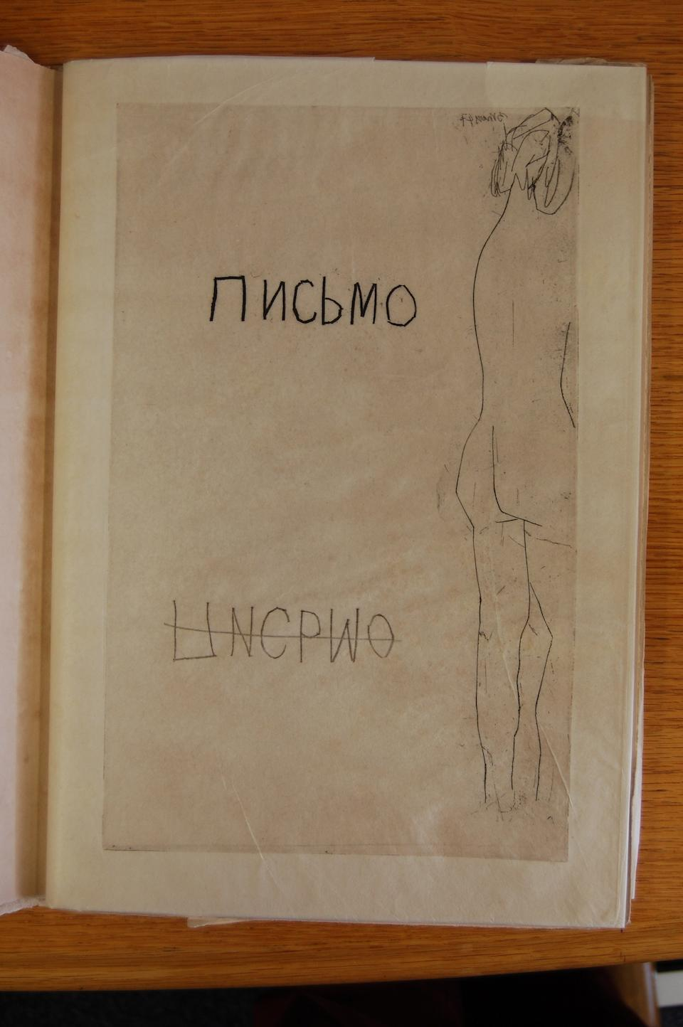 """PICASSO (PABLO) ILIAZD, Pseudonym of ILIA ZDANEVICH. Pismo [in Russian], NUMBER 46 OF 50 COPIES """"sur Japon ancien"""", from an overall edition of 66 copies, SIGNED BY PICASSO and the author on the colophon leaf, Paris, Latitud curanta y uno, [1948]"""
