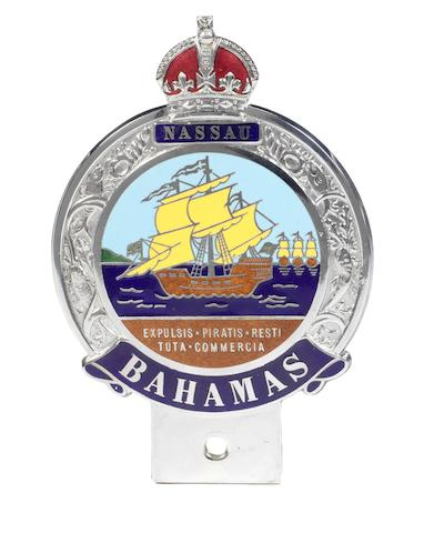A Nassau Bahamas enamel car badge,