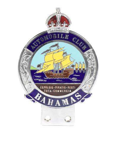 An Automobile Club Bahamas enamel car badge,