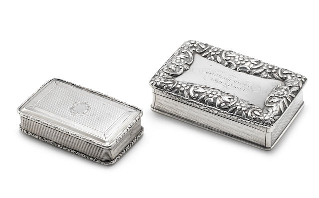A William IV silver snuff box by Nathanial Mills, Birmingham 1832; together with a another two examples  (3)