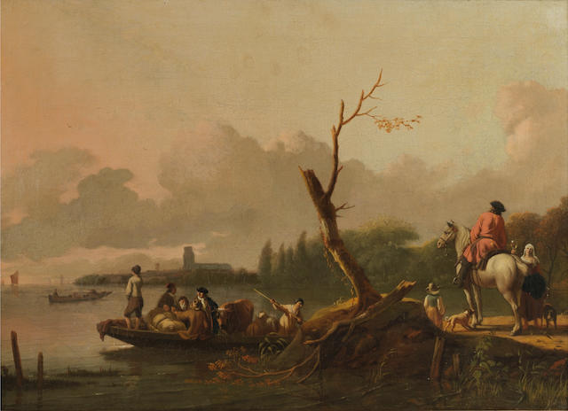 Ludolf Backhuysen (Emden 1630-1708 Amsterdam) A river landscape, most probably the Merwede, with figures departing on a ferry,