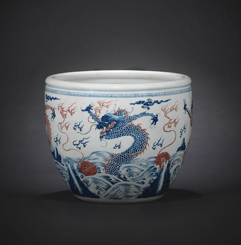 A rare massive blue and copper-red 'four-dragons' fish bowl Kangxi