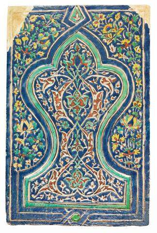 A large Timurid cuerda seca pottery Tile Samarkand, late 14th Century
