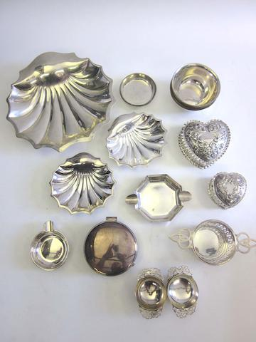 A set of four Victorian silver wine tasters by James Wakely & Frank Clarke Wheeler, London 1890; together with a quantity of otehr items (23)