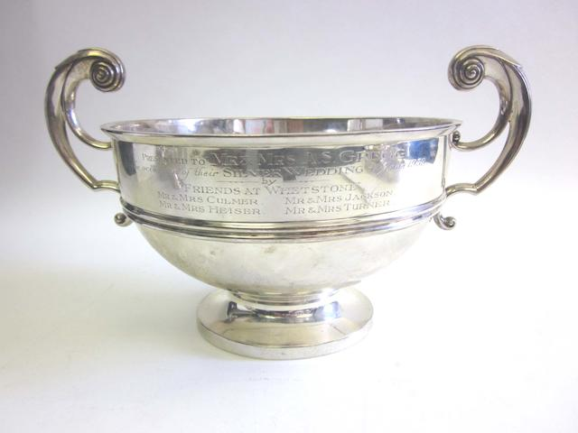 A 20th century silver two-handled presentation bowl by Walker & Hall, Sheffield 1912; together with a quantity of other items (7)