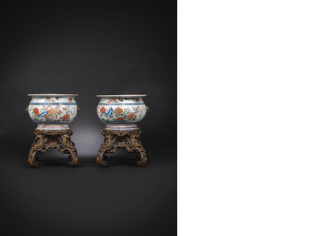 A very fine pair of large famille rose fishbowls Qianlong