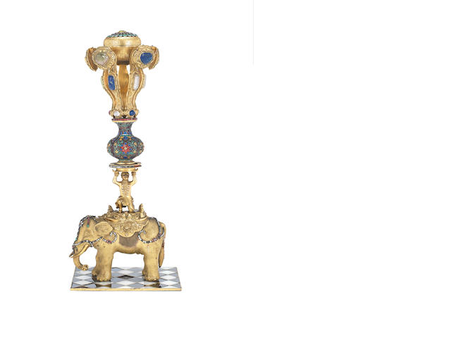 A very rare Imperial gilt-bronze hat stand Qianlong