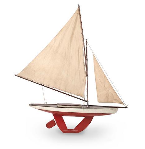 A tandem keel pond yacht 35x8x33ins.(89x20x84cm)