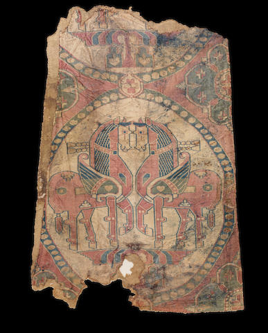 An impressive woven silk Textile Fragment depicting winged horses Sogdiana, Central Asia, circa 8th Century