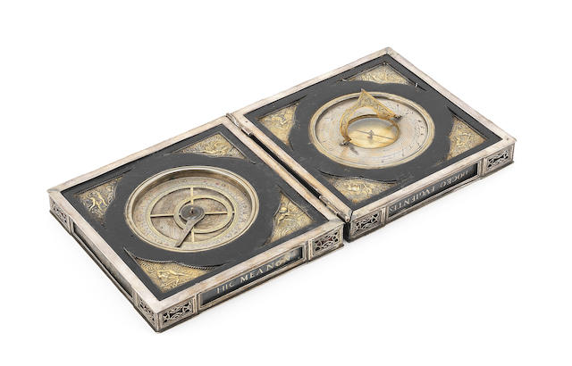 A 16th century style silver and gilt brass horizontal sundial and hour convertor, early 20th century,