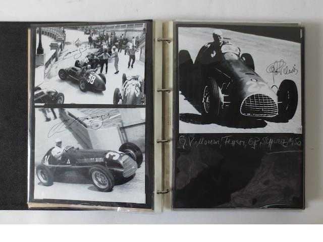 A folder of 1950s Grand Prix race driver signed images and related ephemera,