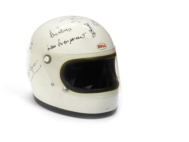 A multiple signed Bell Star helmet, 1970s,