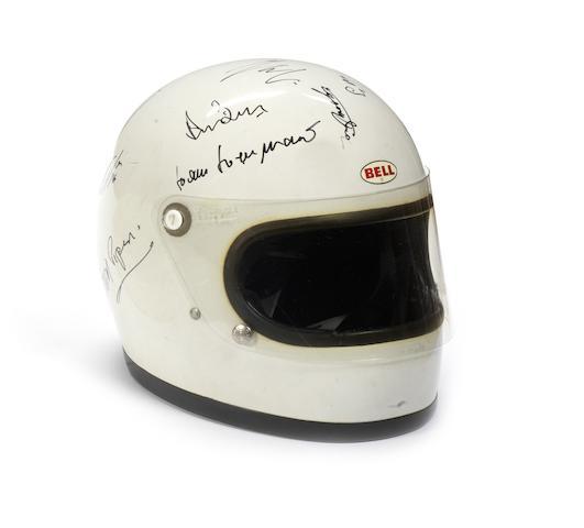 A multiple signed Bell Star helmet, 1970s,