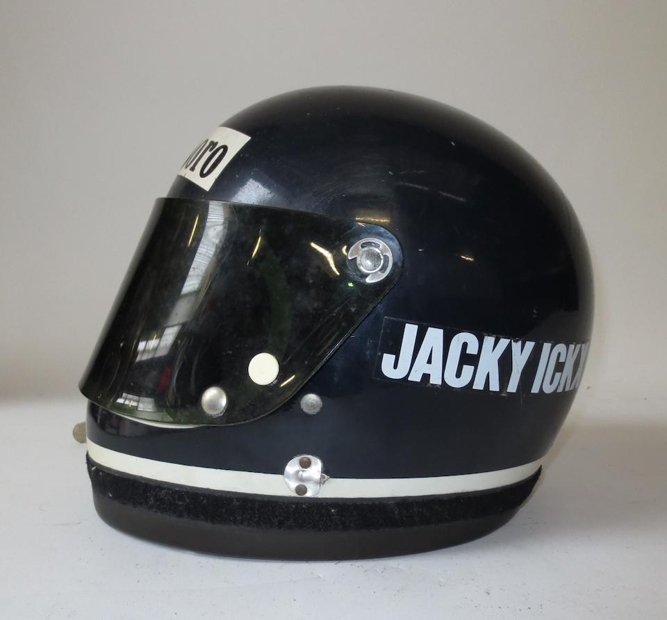 Jacky Ickx's 1976 Grand Prix season and Le Mans winning race helmet, by Bell,