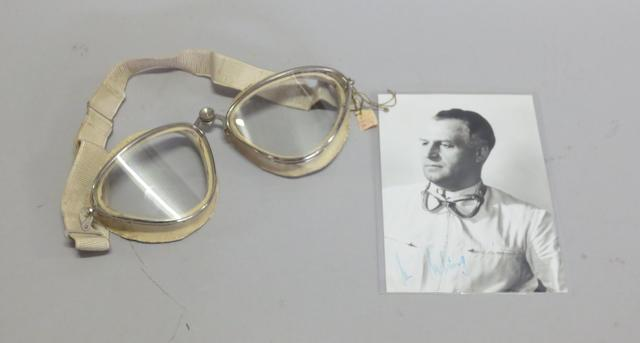 An original pair of Cigogna racing goggles, by G Ratti of Torino Italy, circa 1950,