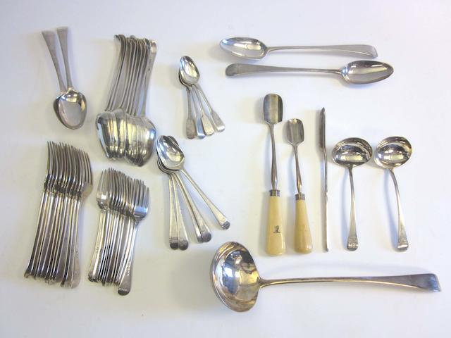 A quantity of George III silver  Old English pattern flatware various dates and makers  (53)