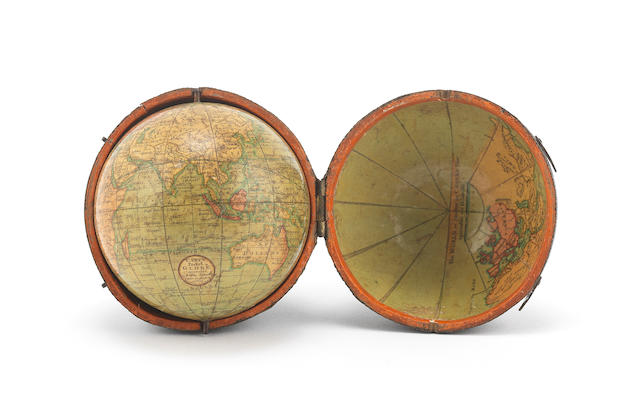 A 3-inch Cary's pocket globe, English, published 1791,