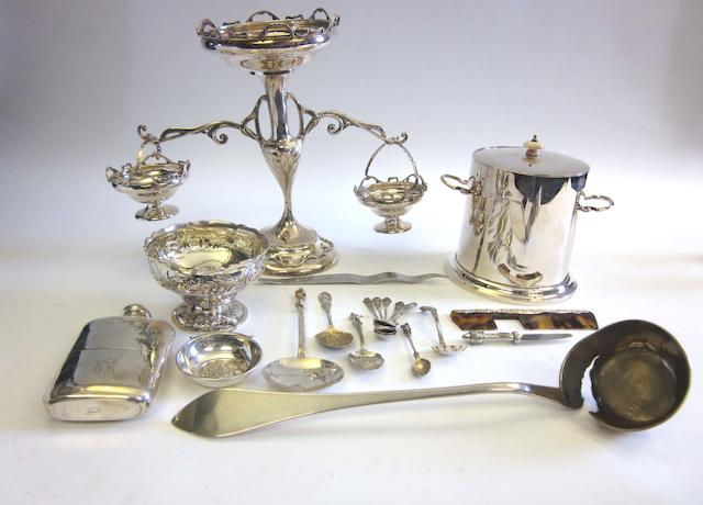 A 20th century silver epergne by Williams Ltd, Birmingham 1910; together with a quantity of other items  (22)