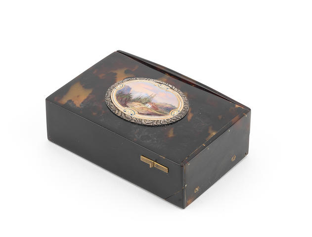 A Charles Bruguier tortoiseshell singing bird box, Swiss, 1830s,