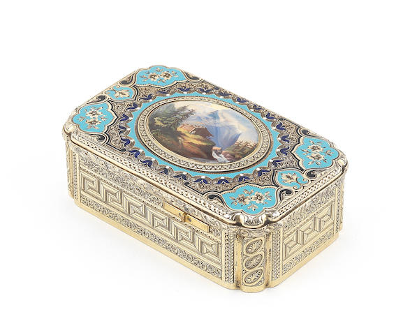 A Jacques Bruguier silver gilt and enamel singing bird box, Swiss, circa 1865