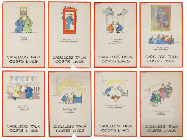 Fougasse (Cyril Kenneth Bird)(British, 1887-1965) Careless Talk Costs Lives Eight lithographs printed in colours, c. 1943