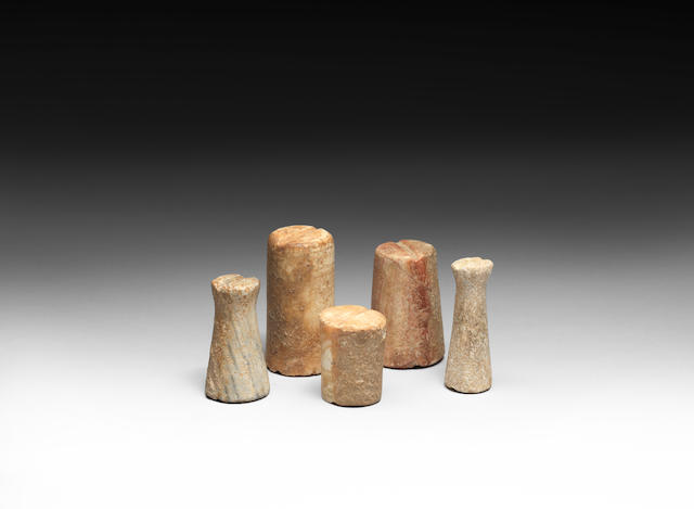 Five Bactrian stone miniature ritual objects 5