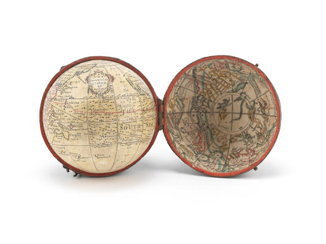 A Nathaniel Hill 2¾-inch pocket globe English, published 1754,