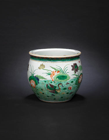 A large famille verte 'ducks' fish bowl 19th century