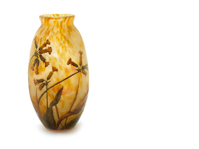 Daum a Cameo Glass Vase with Yellow Flora, circa 1900