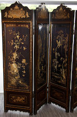 a 19th Century Chinese export four fold lacquered room dividing screen
