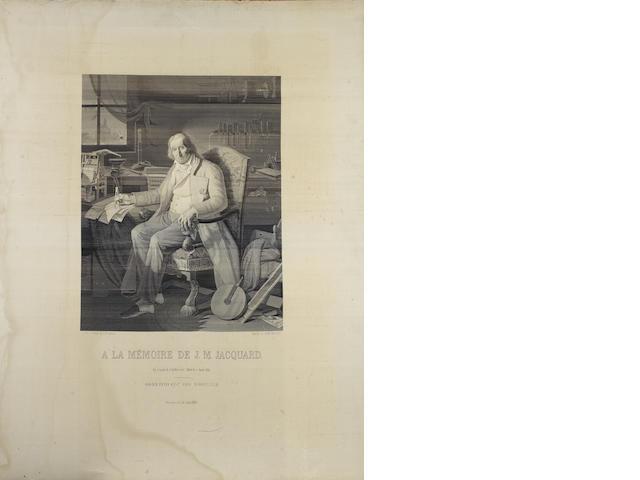 Joseph Marie Charles Jacquard (1752-1834) - A fine woven silk 'A La Mémoire' portrait, dated 1839,