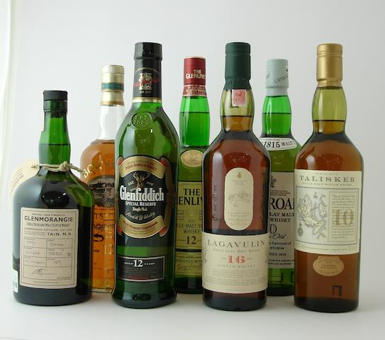 Glenmorangie-1991<BR /> Bowmore-12 year old<BR /> Glenfiddich-12 year old<BR /> The Glenlivet-12 year old<BR /> Lagavulin-16 year old<BR /> Laphroaig-10 year old<BR /> Talisker-10 year old
