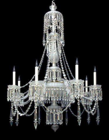 A mid Victorian eight light candle frosted and clear cut glass chandelier by F. and C. Oslercirca 1860-80