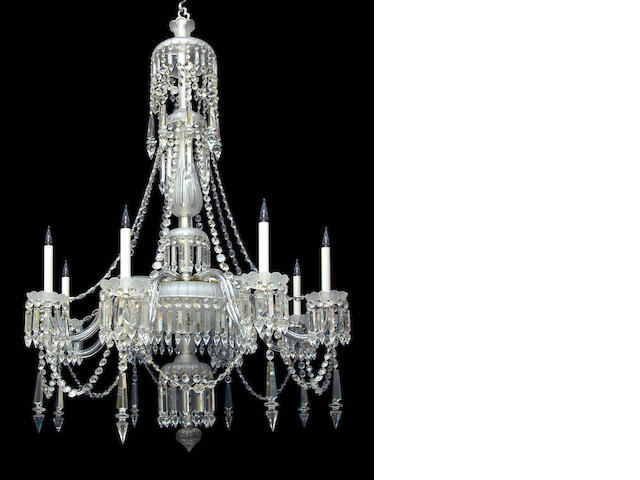 A mid Victorian eight light candle frosted and clear cut glass chandelier by F. and C. Osler circa 1860-80