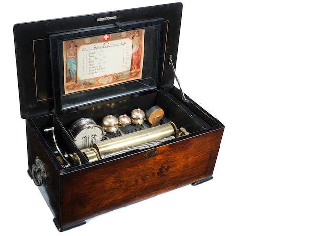 A Paillard Vaucher Fils bells, drum and castanets in sight cylinder musical box, Swiss, late 19th century,