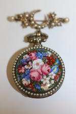 Bovet Fleurier: A 19th century enamel and seed pearl fob watch