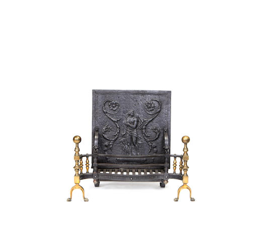 A 19th century and later cast, wrought iron and brass firegrate