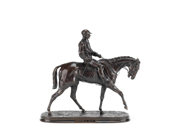 Pierre-Jules Mêne (French, 1810-1879): A bronze equestrian model of Jockey À Cheval No 1 (Vainquer du Derby)