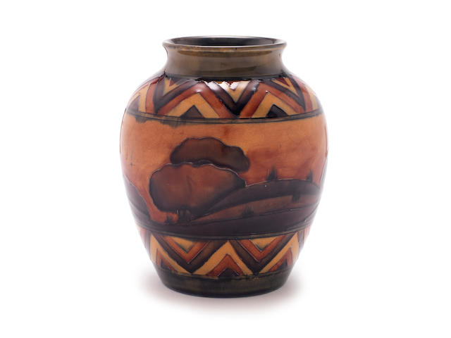William Moorcroft A Very Good Landscape Vase, circa 1925