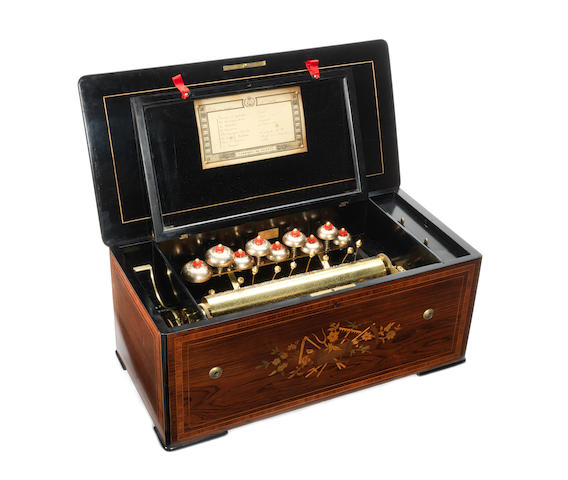 A bells-in-sight cylinder musical box, Swiss, late 19th century,