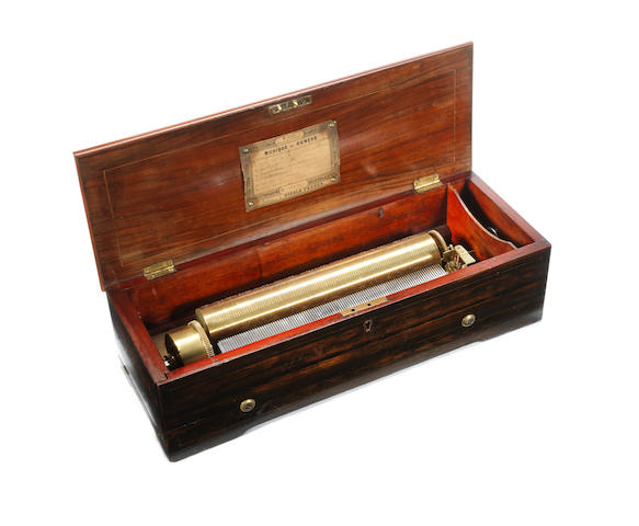 A Nicole Frères key-wound cylinder musical box, Swiss, mid 19th century,