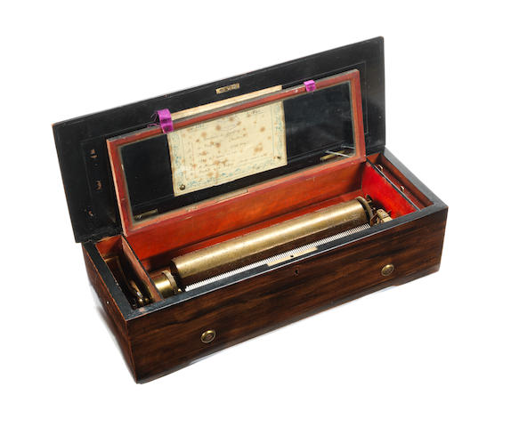 A mandolin cylinder music box, Swiss, circa 1860,