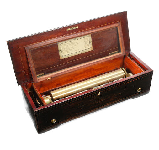 A forté piano cylinder musical box, Swiss, circa 1880,