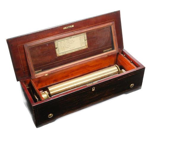 A forté piano cylinder musical box, Swiss, circa 1880,