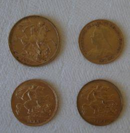 A gold full sovereign 1889, together with three half sovereigns, 1898, 1908 & 1909. (4)