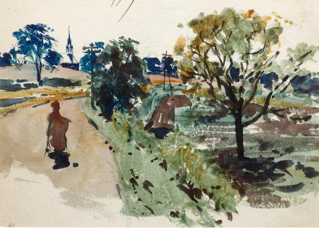 James Watterston Herald (British, 1859-1914) Village Houses; Trees; Seawall, Arbroath; Figures on Path; Landscape Tree Study a group of five various sizes