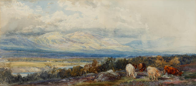 Henry Moore, RA (British, 1831-1895) Cattle in a mountainous landscape