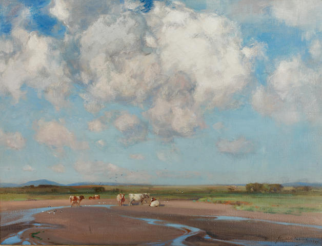 John Campbell Mitchell, RSA (British, 1862-1922) Cattle in an estuary
